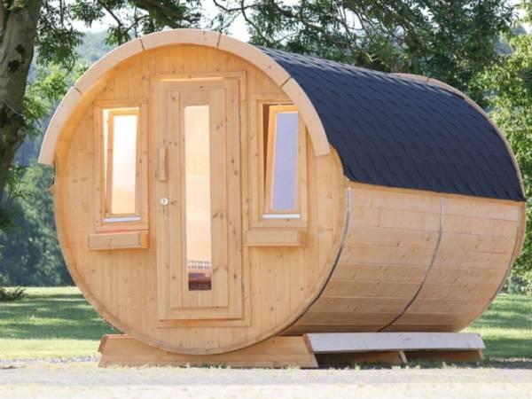 Wolff Finnhaus Campingfass 446/2-Raum Bausatz mit schwarzen Dachschindeln