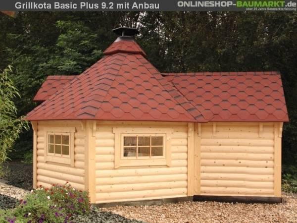 Wolff Finnhaus Grillkota 9 de luxe mit Anbau inkl. rot-schwarzen Dachschindeln