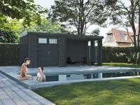 Wolff Finnhaus Metall-Gerätehaus Eleganto 2724 Granitgrau inkl. Lounge rechts mit 2 Fenstern, Dachrinne und Fallrohr