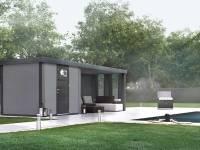 Wolff Finnhaus Metall-Gerätehaus Eleganto 2424 Lichtgrau inkl. Lounge rechts mit 2 Fenstern, Dachrinne und Fallrohr