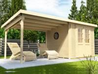 Wolff Finnhaus Pulti Softline 2424 in natur mit Seitendach 300 cm