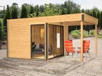 Wolff Finnhaus Pultdachhaus Studio 44-B mit Lounge Alu-Anthrazit fichte