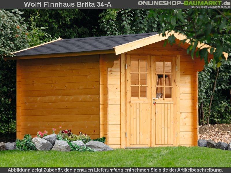 wolff finnhaus satteldach gartenhaus britta 34 a mit hoher seitenwand und eingangst re. Black Bedroom Furniture Sets. Home Design Ideas