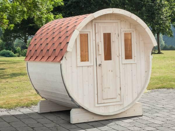 Wolff Finnhaus Saunafass Basic 230 montiert mit roten Dachschindeln