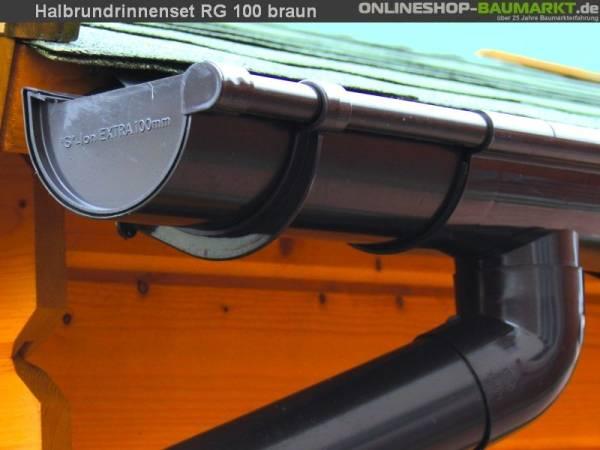 Dachrinnen Set RG 100 braun 450 cm zweiseitig