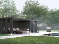 Wolff Finnhaus Metall-Gerätehaus Eleganto 2424 Granitgrau inkl. Lounge links mit 2 Fenstern, Dachrinne und Fallrohr