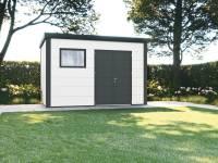 Wolff Finnhaus Metall-Gerätehaus Eleganto 3930 Weiß inkl. Dachrinne und Fallrohr