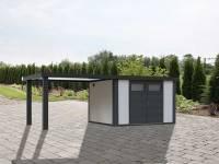 Wolff Finnhaus Metallhaus Eleganto 3024 weiß inkl. 280 cm Seitendach links, Dachrinne und Fallrohr