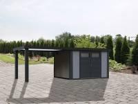 Wolff Finnhaus Metallhaus Eleganto 3024 lichtgrau inkl. 280 cm Seitendach links, Dachrinne und Fallrohr