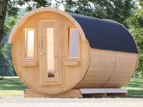 Wolff Finnhaus Campingfass 330, 2-Raum Bausatz mit schwarzen Dachschindeln