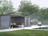 Wolff Finnhaus Metall-Gerätehaus Eleganto 2424 mit Lounge Links Lichtgrau
