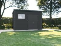 Wolff Finnhaus Metall-Gerätehaus Eleganto 3930 Granitgrau inkl. Dachrinne und Fallrohr