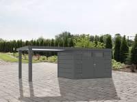 Wolff Finnhaus Metallhaus Eleganto 3024 Granitgrau inkl. 280 cm Seitendach links, Dachrinne und Fallrohr