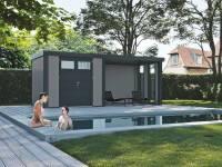 Wolff Finnhaus Metall-Gerätehaus Eleganto 2724 mit Lounge rechts inkl. 2 Fenster Lichtgrau