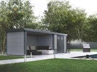 Wolff Finnhaus Metall-Gerätehaus Eleganto 2724 Lichtgrau inkl. Lounge links, Dachrinne und Fallrohr