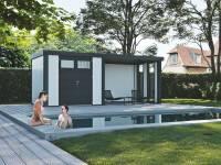 Wolff Finnhaus Metall-Gerätehaus Eleganto 2724 Weiß inkl. Lounge rechts mit 2 Fenstern, Dachrinne und Fallrohr