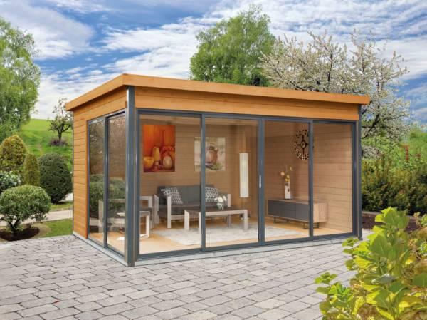Wolff Finnhaus Pultdachhaus Studio 44-D Alu-Anthrazit bernstein