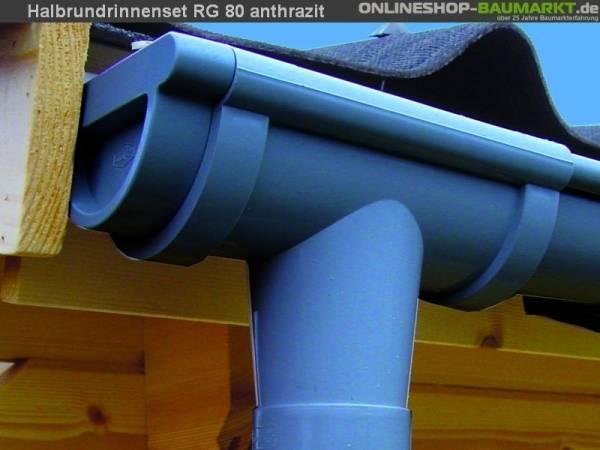 Dachrinnen Set RG 80 anthrazit 6x200 cm 6-Eck-Dach
