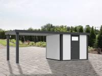 Wolff Finnhaus Metallhaus Eleganto 2424 mit 280 cm Seitendach links, weiß inkl. Dachrinne, Fallrohr