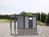 Wolff Finnhaus Metallhaus Eleganto 2424 mit 170 cm Seitendach links, lichtgrau inkl. Dachrinne, Fallrohr