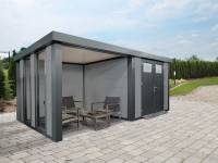 Wolff Finnhaus Metallhaus Eleganto 3024 Lichtgrau inkl. Dachrinne und Fallrohr mit Lounge links, inkl. 2 Fenster