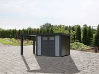 Wolff Finnhaus Metallhaus Eleganto 2724 mit 170 cm Seitendach links, lichtgrau inkl. Dachrinne, Fallrohr