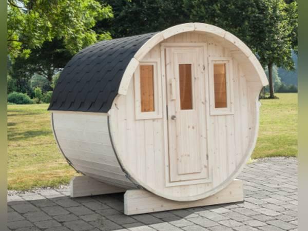 Wolff Finnhaus Saunafass 230 basic als Bausatz mit schwarzen Dachschindeln
