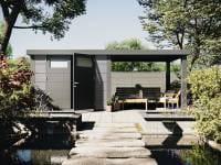 Wolff Finnhaus Metallhaus Eleganto 2724 mit 280 cm Seitendach rechts, lichtgrau inkl. Dachrinne, Fallrohr