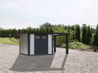 Wolff Finnhaus Metallhaus Eleganto 2724 mit 170 cm Seitendach rechts, weiß inkl. Dachrinne, Fallrohr
