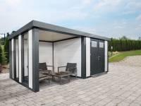 Wolff Finnhaus Metallhaus Eleganto 3024 Weiß inkl. Dachrinne und Fallrohr mit Lounge links inkl. 2 Fenster