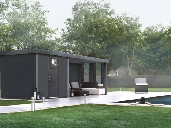 Wolff Finnhaus Metall-Gerätehaus Eleganto 2424 Granitgrau inkl. Lounge rechts mit 2 Fenstern, Dachrinne und Fallrohr