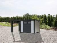 Wolff Finnhaus Metallhaus Eleganto 2724 mit 170 cm Seitendach links, weiß inkl. Dachrinne, Fallrohr