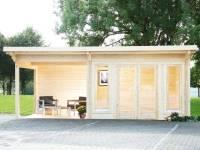 Wolff Pultdachhaus Trondheim 70-D XL mit Seitendach 200 cm Links