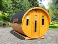 Wolff Finnhaus Campingfass Sylt 446-2, 2-Raum Bausatz mit schwarzen Dachschindeln.