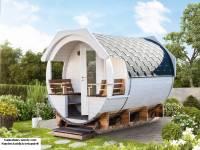 Wolff Finnhaus Thermoholz Saunafass Finja 1 Bausatz mit schwarzen Dachschindeln