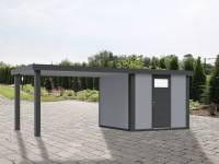 Wolff Finnhaus Metallhaus Eleganto 2424 mit 280 cm Seitendach links, lichtgrau inkl. Dachrinne, Fallrohr