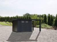 Wolff Finnhaus Metallhaus Eleganto 2724 mit 170 cm Seitendach rechts, granitgrau inkl. Dachrinne, Fallrohr