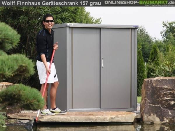 Wolff Finnhaus Geräteschrank 157 rauchgrau Metall-Geräteschrank