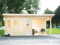 Wolff Finnhaus Pultdachhaus Trondheim 70-A XL mit Seitendach 300 cm links