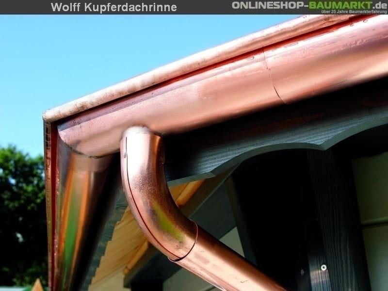Wolff Pavillion-Dachrinne Kupfer 4 m 1 Fallrohr