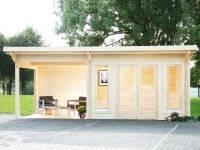 Wolff Pultdachhaus Trondheim 70-B XL mit Seitendach 400 cm Links