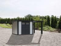 Wolff Finnhaus Metallhaus Eleganto 3024 weiß inkl. 170 cm Seitendach rechts, Dachrinne und Fallrohr