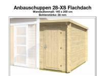 Wolff Finnhaus Anbauschuppen 28-XS Flachdach naturbelassen