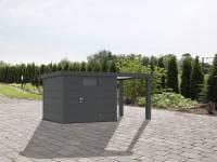 Wolff Finnhaus Metallhaus Eleganto 2424 mit 170 cm Seitendach rechts, granitgrau inkl. Dachrinne, Fallrohr