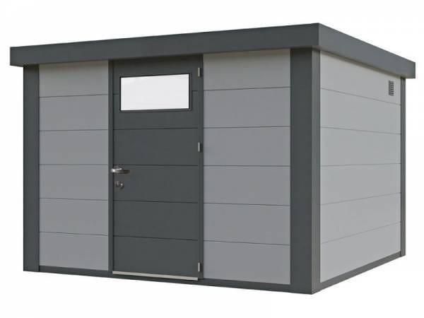 Wolff Finnhaus Metall-Gerätehaus Eleganto 2424 Lichtgrau inkl. Dachrinne und Fallrohr