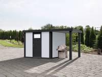 Wolff Finnhaus Metallhaus Eleganto 2424 mit 170 cm Seitendach rechts, weiß inkl. Dachrinne, Fallrohr