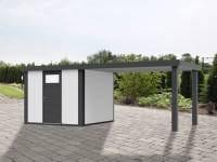Wolff Finnhaus Metallhaus Eleganto 2424 mit 280 cm Seitendach rechts, weiß inkl. Dachrinne, Fallrohr