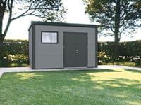 Wolff Finnhaus Metall-Gerätehaus Eleganto 3930 Lichtgrau inkl. Dachrinne und Fallrohr