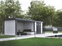 Wolff Finnhaus Metall-Gerätehaus Eleganto 2724 Weiß inkl. Lounge links, Dachrinne und Fallrohr
