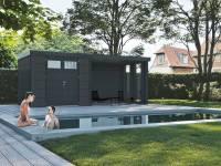 Wolff Finnhaus Metallhaus Eleganto 3024 Granitgrau inkl. Dachrinne und Fallrohr mit Lounge rechts inkl. 2 Fenster